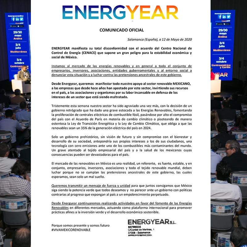 ENERGYEAR manifiesta su total disconformidad con el acuerdo…